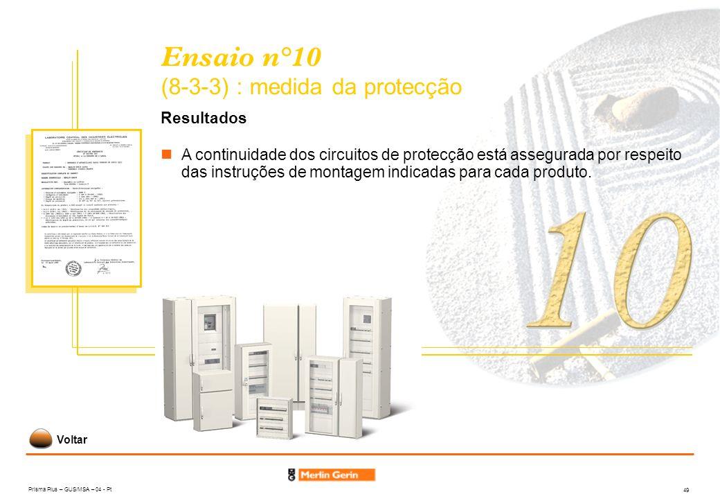 Ensaio n°10 (8-3-3) : medida da protecção