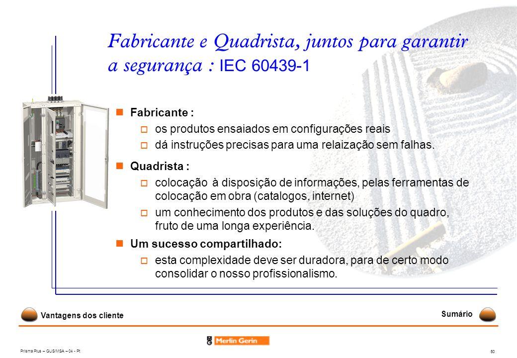 Fabricante e Quadrista, juntos para garantir a segurança : IEC 60439-1