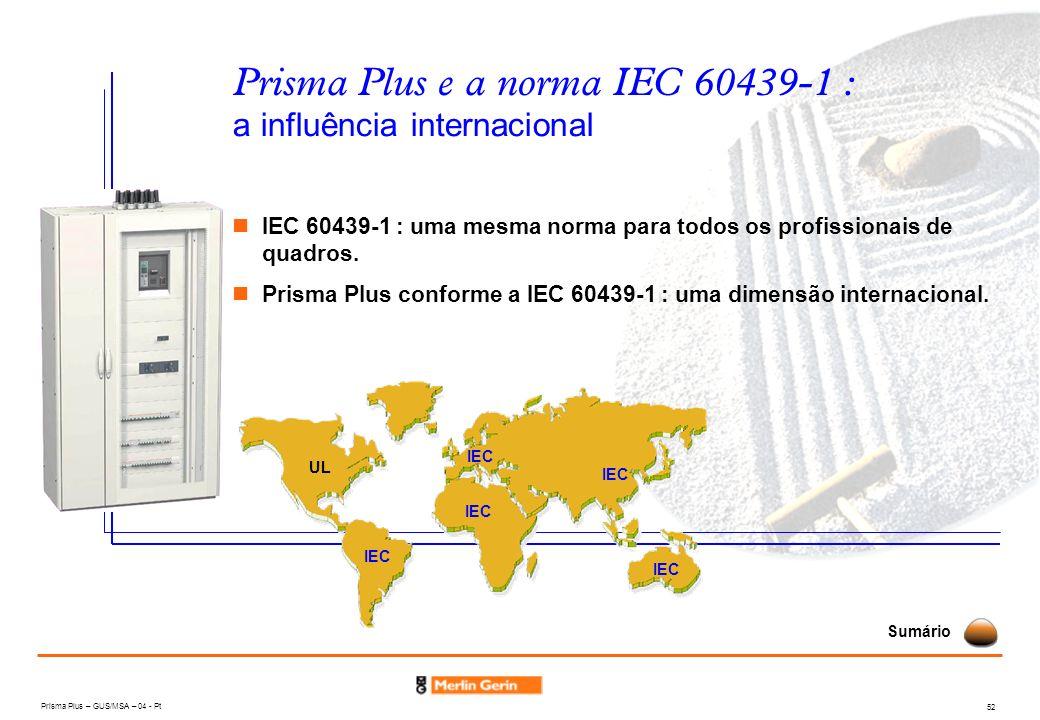 Prisma Plus e a norma IEC 60439-1 : a influência internacional