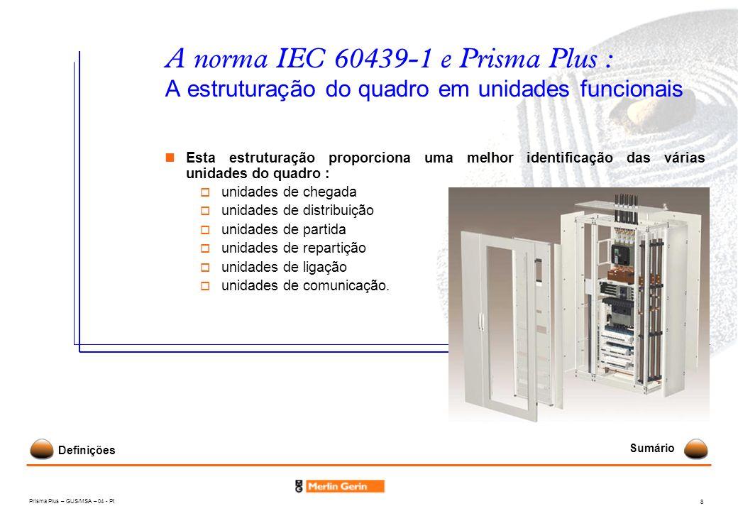 A norma IEC 60439-1 e Prisma Plus : A estruturação do quadro em unidades funcionais