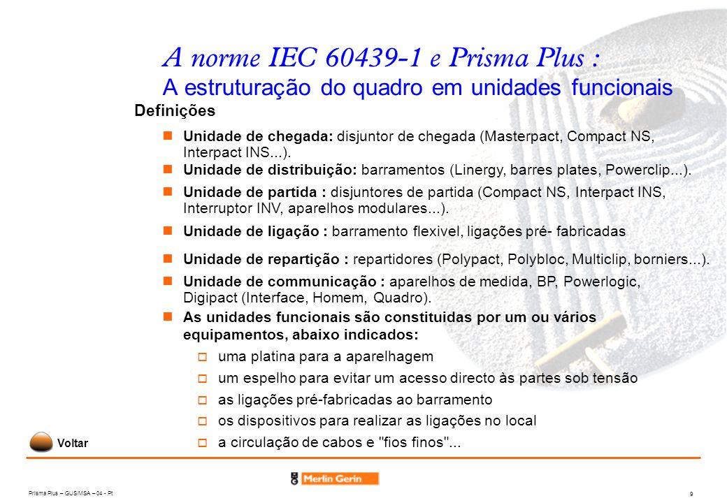 A norme IEC 60439-1 e Prisma Plus : A estruturação do quadro em unidades funcionais