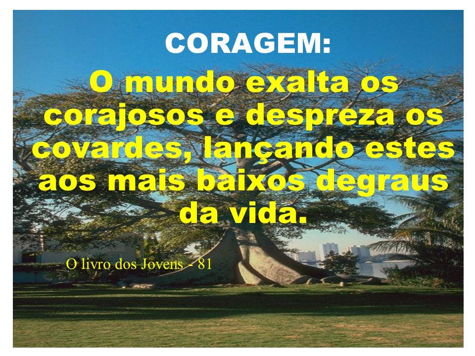 CORAGEM: O mundo exalta os corajosos e despreza os covardes, lançando estes aos mais baixos degraus da vida.