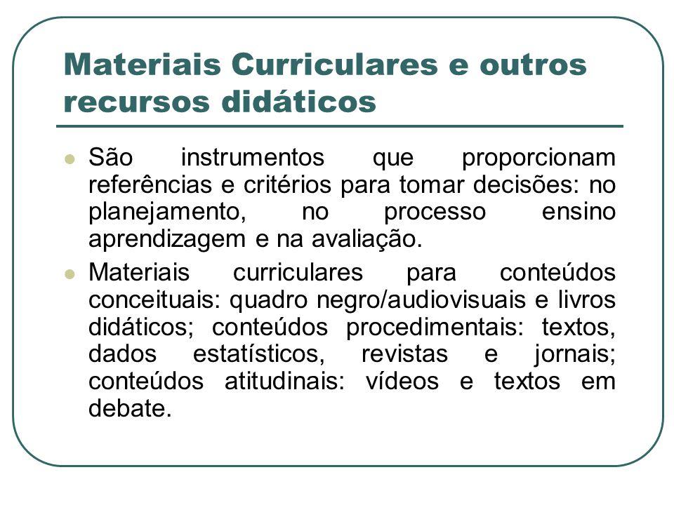 Materiais Curriculares e outros recursos didáticos