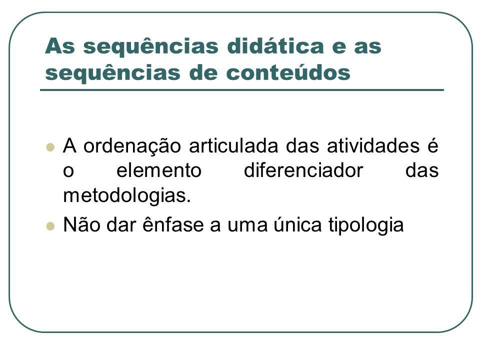 As sequências didática e as sequências de conteúdos