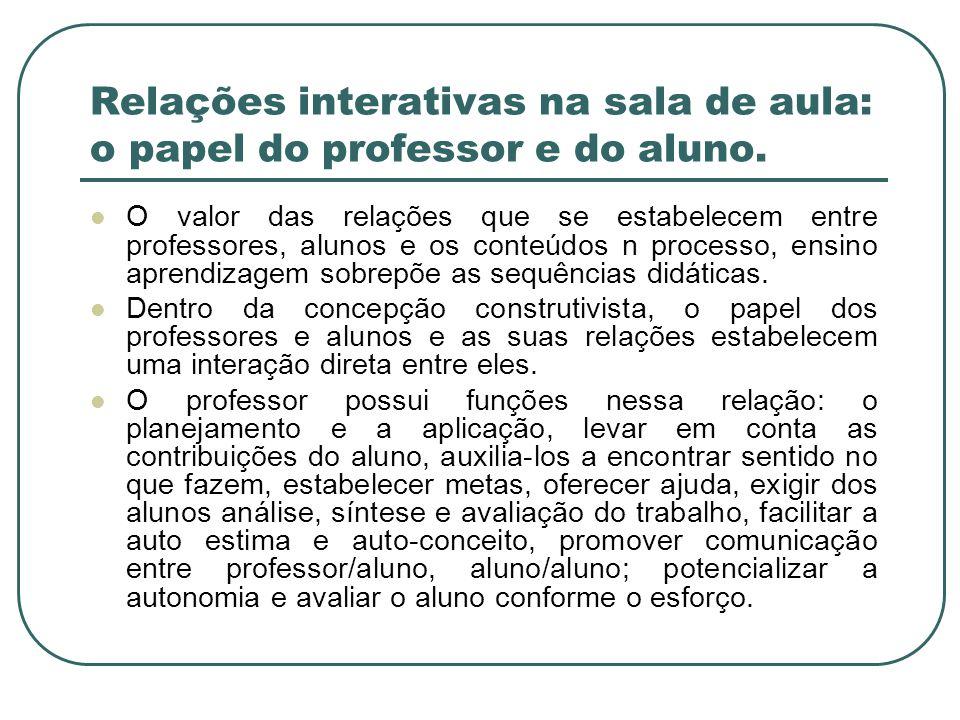 Relações interativas na sala de aula: o papel do professor e do aluno.