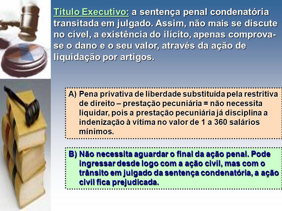 Título Executivo: a sentença penal condenatória transitada em julgado