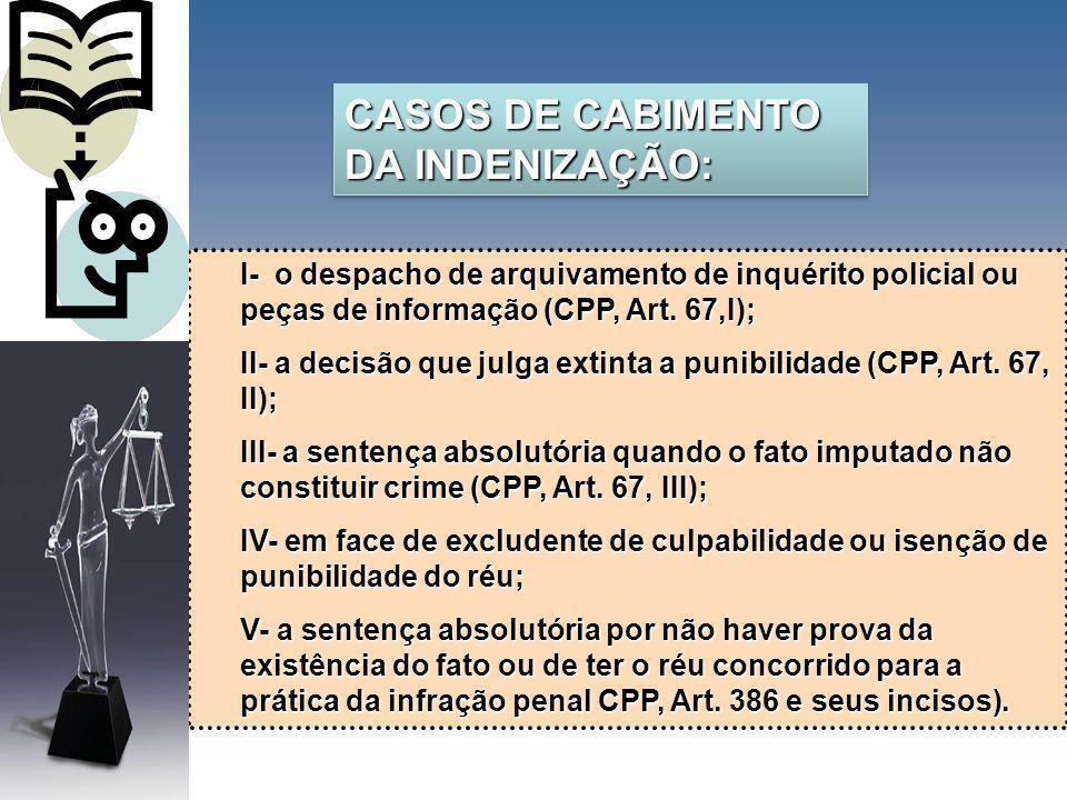 CASOS DE CABIMENTO DA INDENIZAÇÃO: