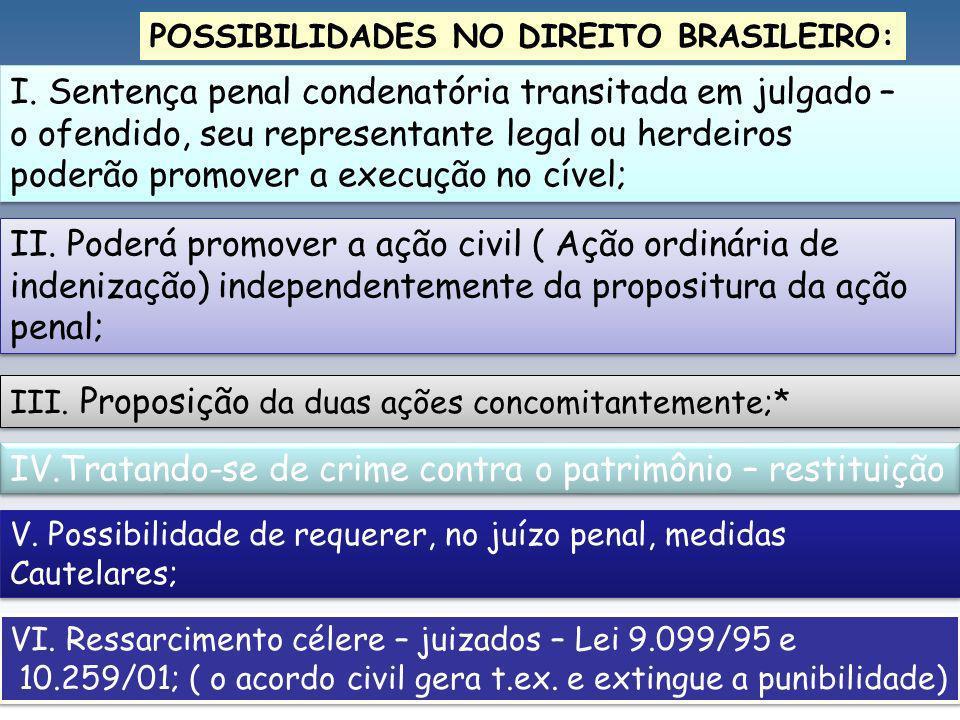 I. Sentença penal condenatória transitada em julgado –