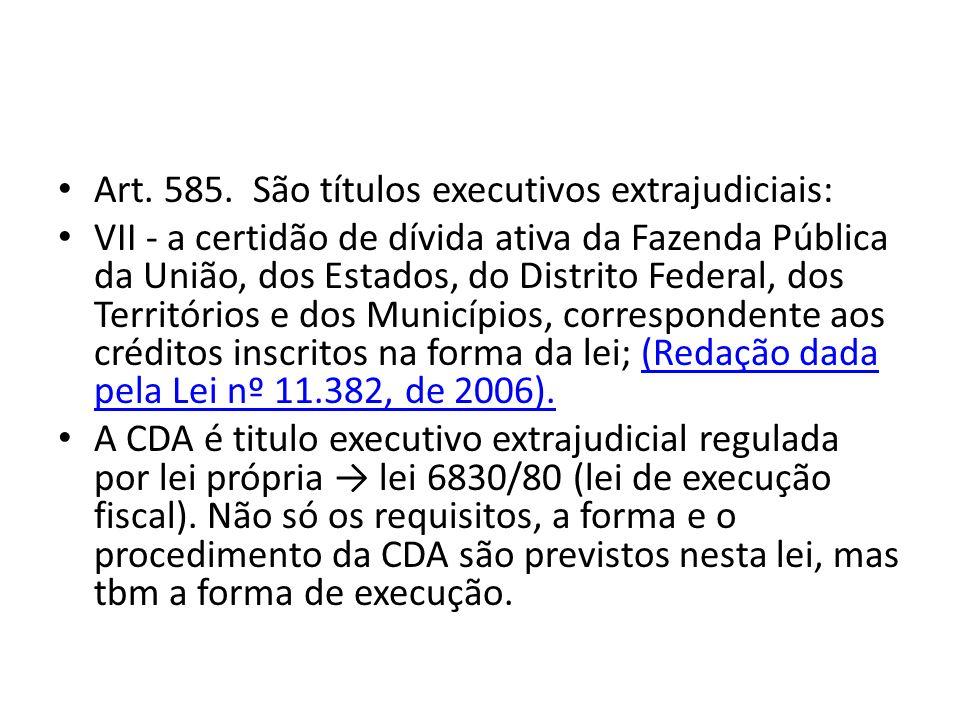 Art. 585. São títulos executivos extrajudiciais: