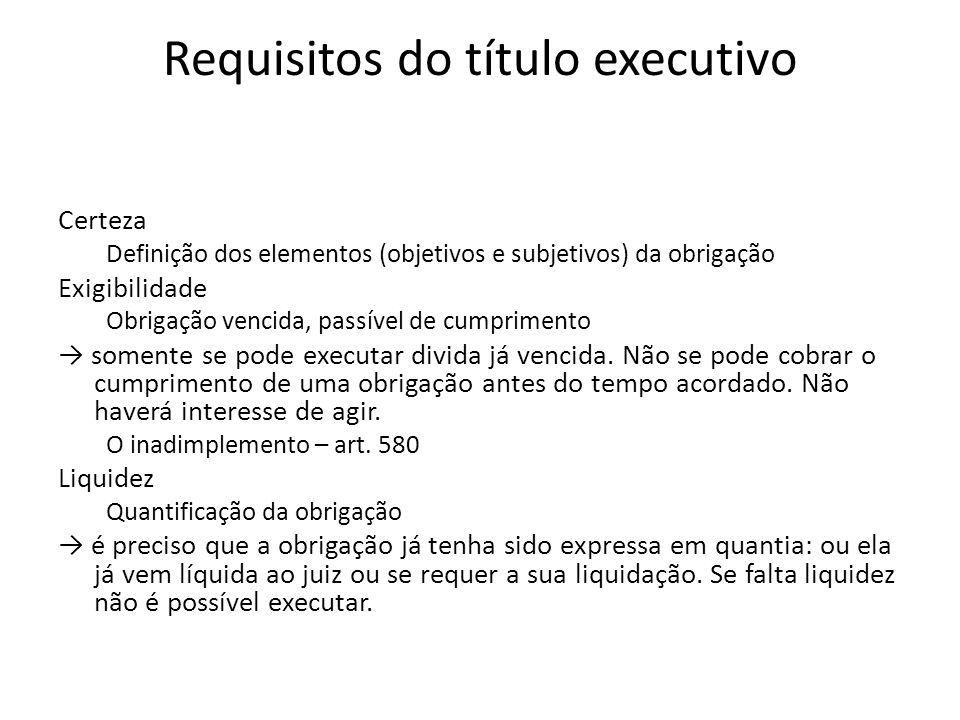 Requisitos do título executivo
