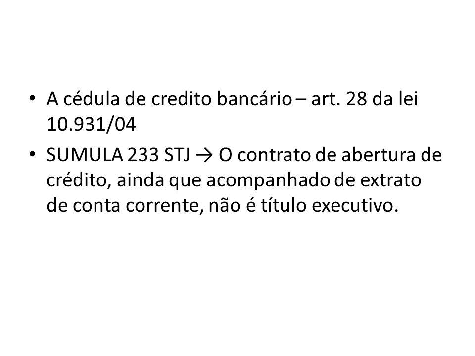 A cédula de credito bancário – art. 28 da lei 10.931/04