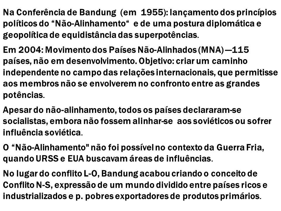 Na Conferência de Bandung (em 1955): lançamento dos princípios políticos do Não-Alinhamento e de uma postura diplomática e geopolítica de equidistância das superpotências.