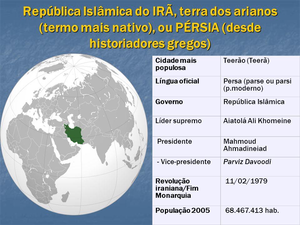 República Islâmica do IRÃ, terra dos arianos (termo mais nativo), ou PÉRSIA (desde historiadores gregos)