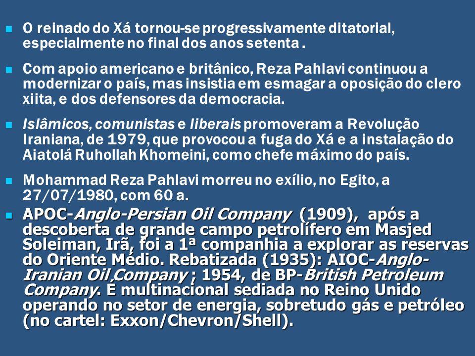 O reinado do Xá tornou-se progressivamente ditatorial, especialmente no final dos anos setenta .