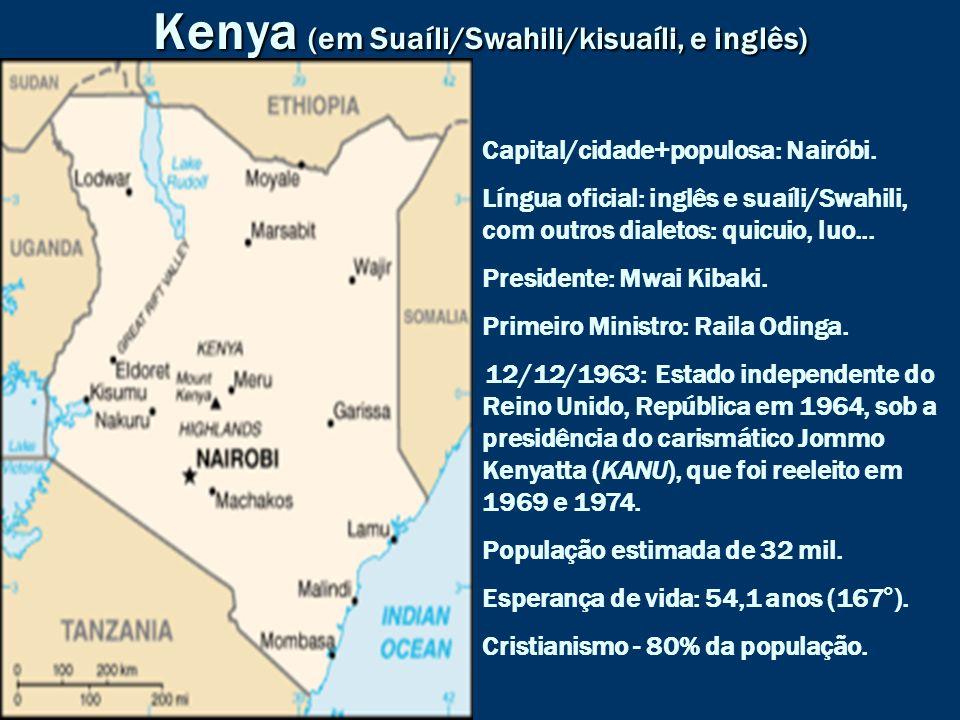 Kenya (em Suaíli/Swahili/kisuaíli, e inglês)