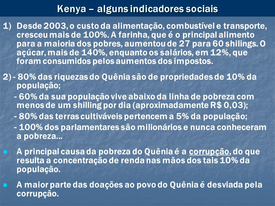 Kenya – alguns indicadores sociais