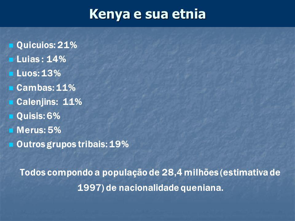 Kenya e sua etnia Quicuios: 21% Luias : 14% Luos: 13% Cambas: 11%