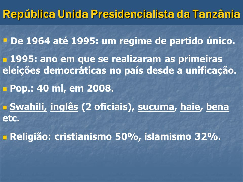 República Unida Presidencialista da Tanzânia