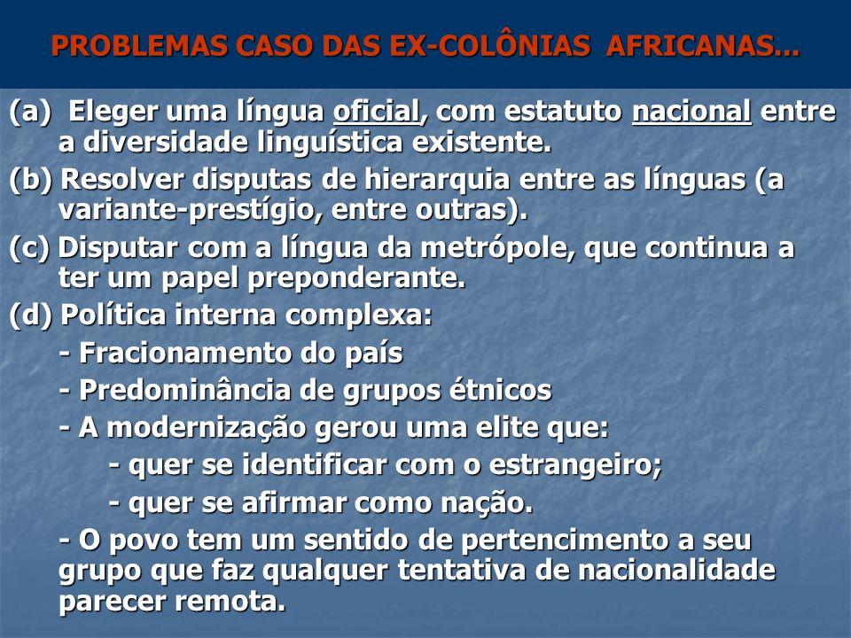 PROBLEMAS CASO DAS EX-COLÔNIAS AFRICANAS...