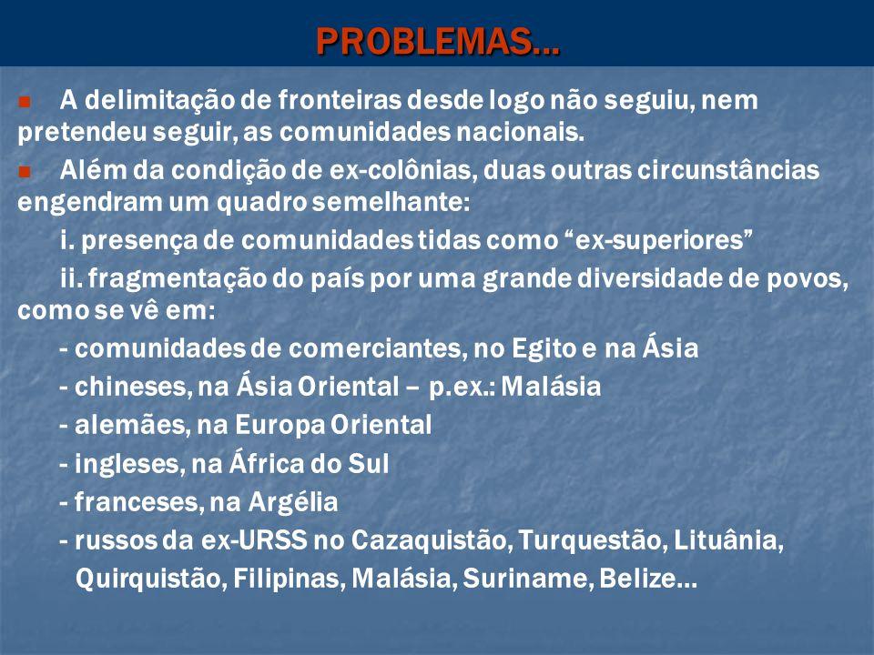 PROBLEMAS...A delimitação de fronteiras desde logo não seguiu, nem pretendeu seguir, as comunidades nacionais.