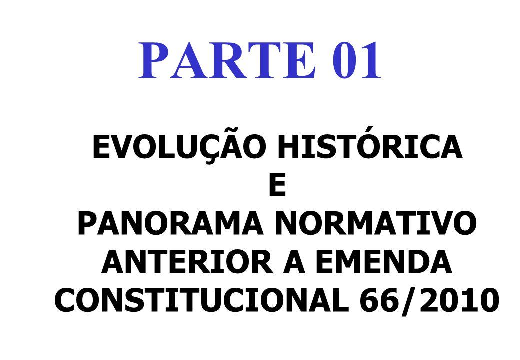 PANORAMA NORMATIVO ANTERIOR A EMENDA CONSTITUCIONAL 66/2010