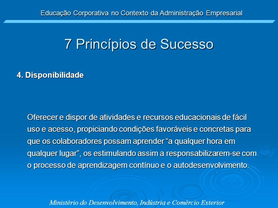 7 Princípios de Sucesso 4. Disponibilidade