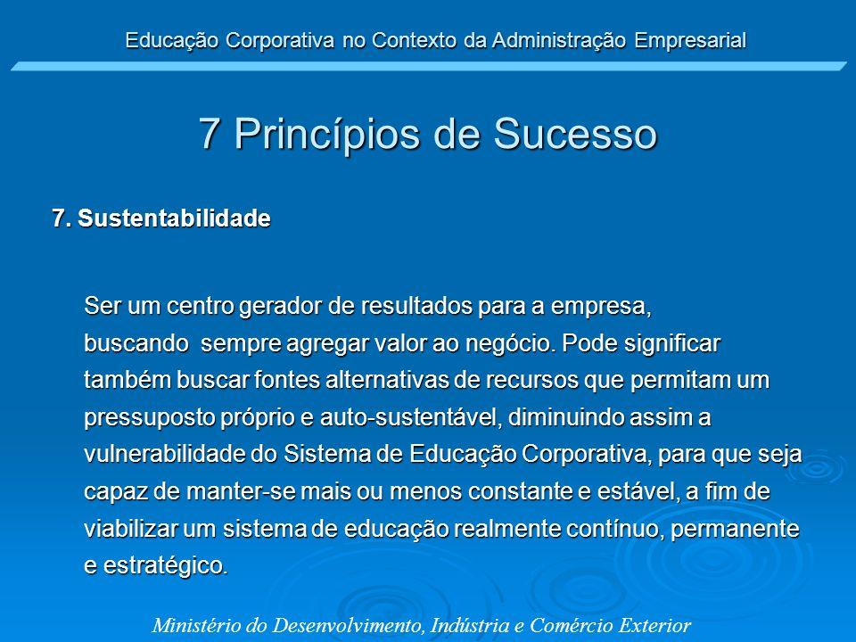 7 Princípios de Sucesso 7. Sustentabilidade