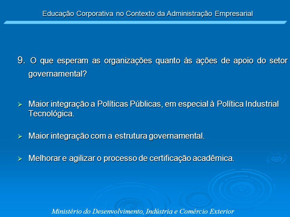 9. O que esperam as organizações quanto às ações de apoio do setor governamental