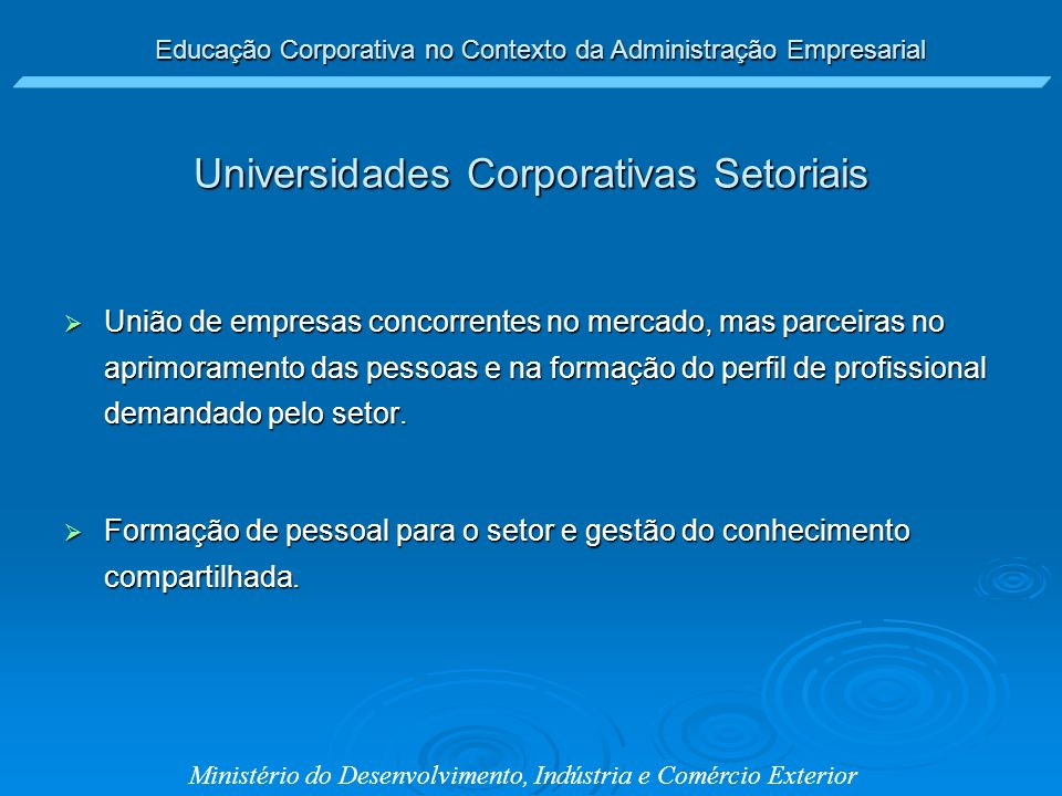 Universidades Corporativas Setoriais