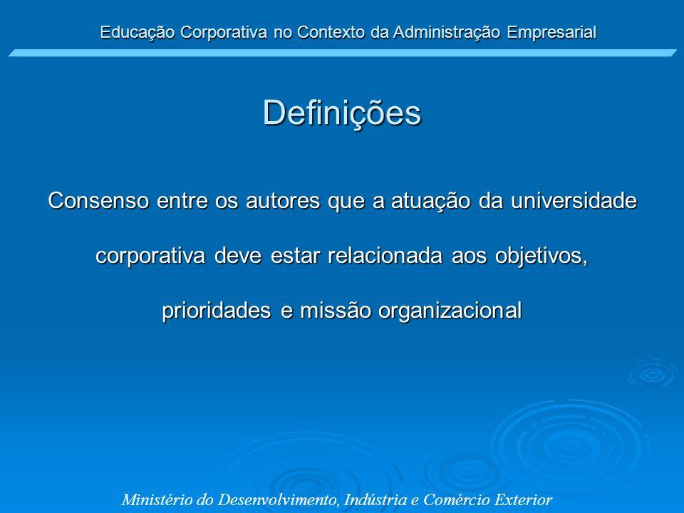 Definições Consenso entre os autores que a atuação da universidade