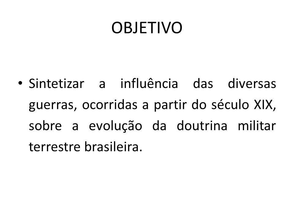 OBJETIVOSintetizar a influência das diversas guerras, ocorridas a partir do século XIX, sobre a evolução da doutrina militar terrestre brasileira.