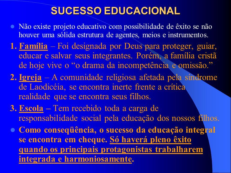 SUCESSO EDUCACIONALNão existe projeto educativo com possibilidade de êxito se não houver uma sólida estrutura de agentes, meios e instrumentos.