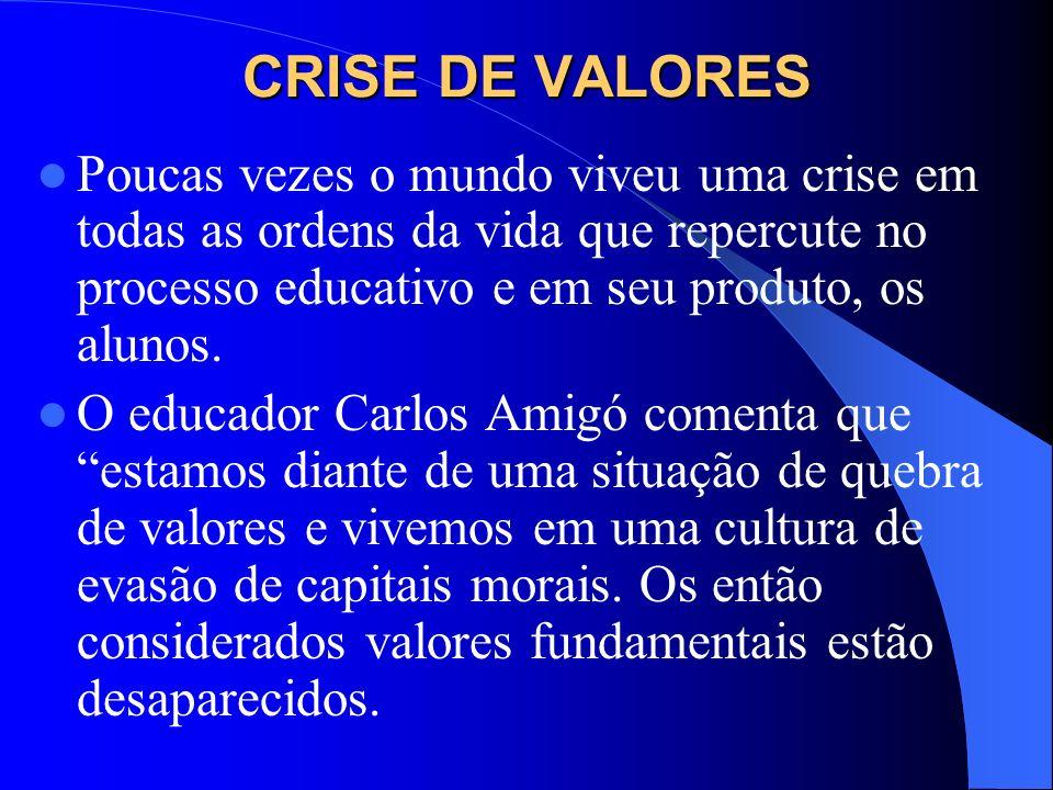 CRISE DE VALORESPoucas vezes o mundo viveu uma crise em todas as ordens da vida que repercute no processo educativo e em seu produto, os alunos.