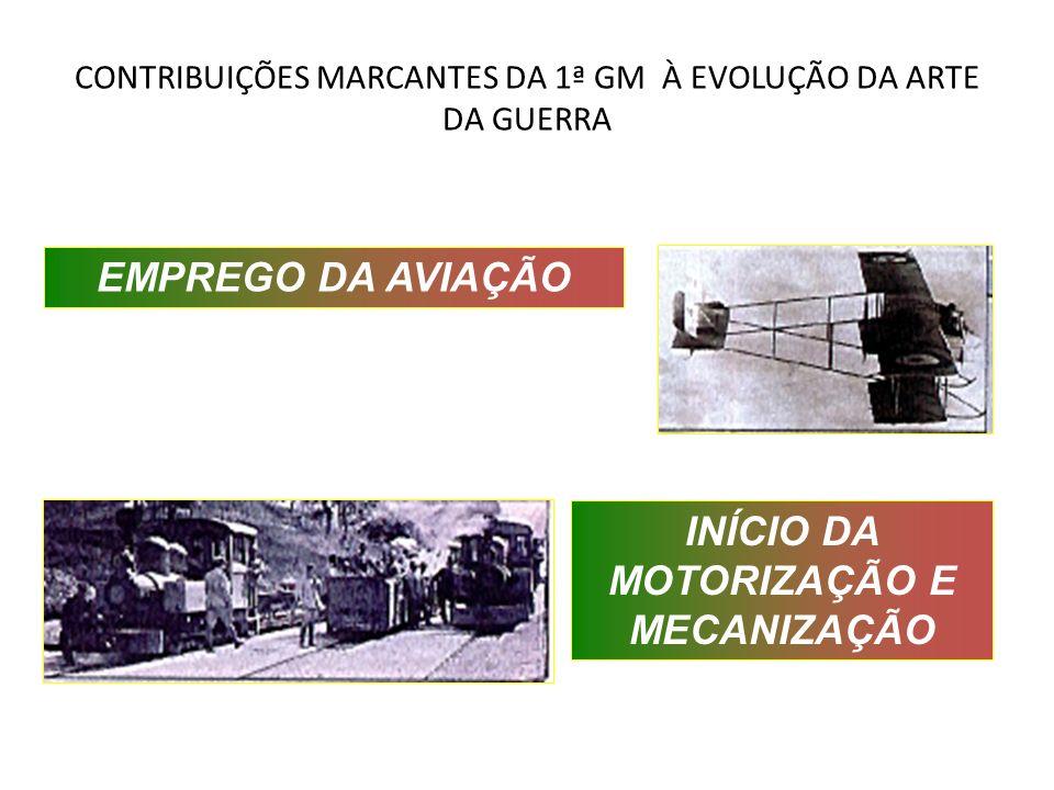 CONTRIBUIÇÕES MARCANTES DA 1ª GM À EVOLUÇÃO DA ARTE DA GUERRA