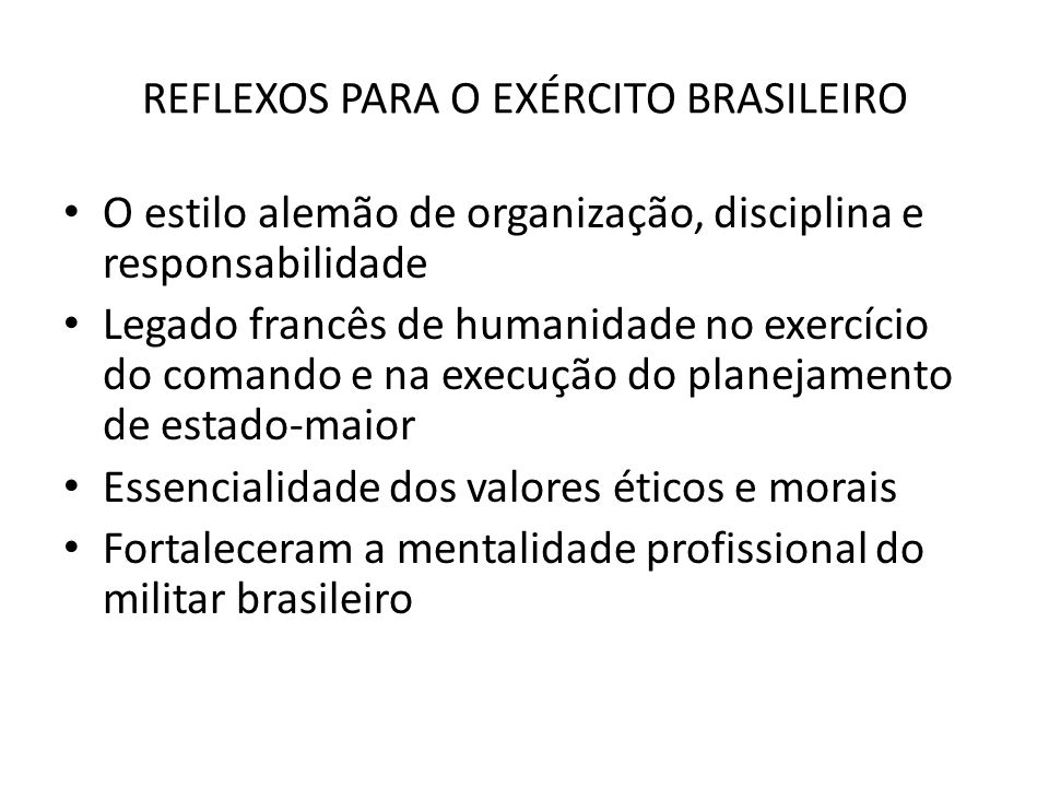 REFLEXOS PARA O EXÉRCITO BRASILEIRO