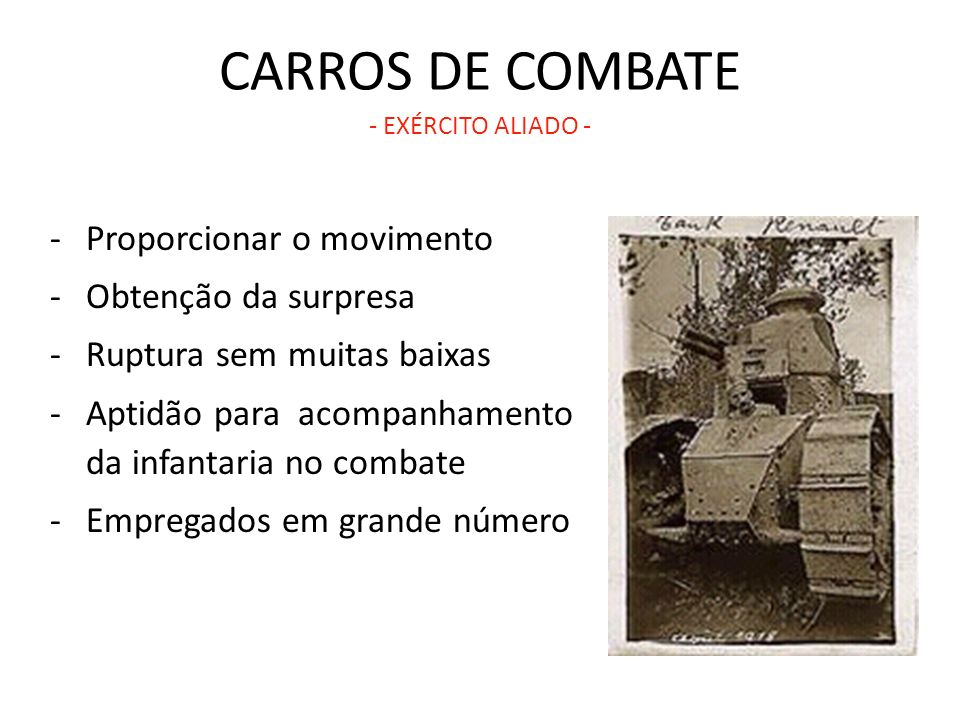 CARROS DE COMBATE - EXÉRCITO ALIADO -