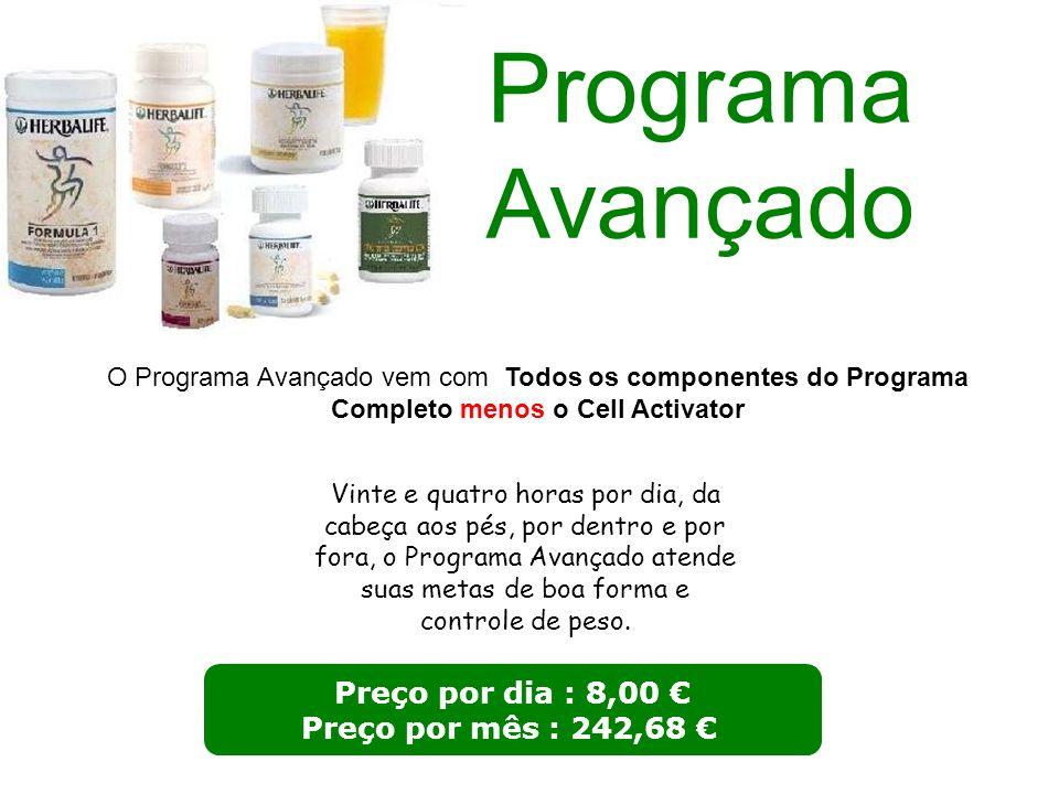 Programa Avançado Preço por dia : 8,00 € Preço por mês : 242,68 €