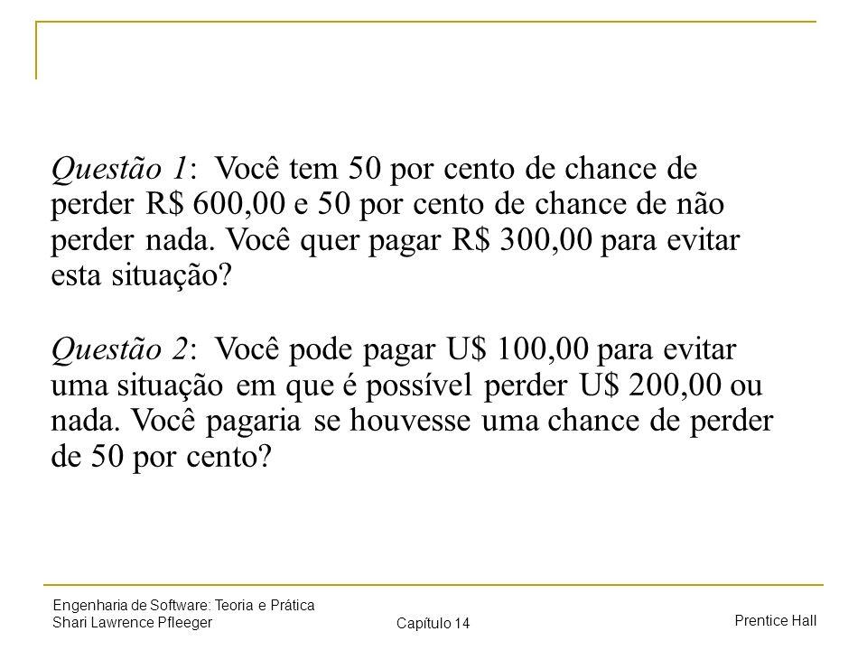 Questão 1: Você tem 50 por cento de chance de perder R$ 600,00 e 50 por cento de chance de não perder nada. Você quer pagar R$ 300,00 para evitar esta situação