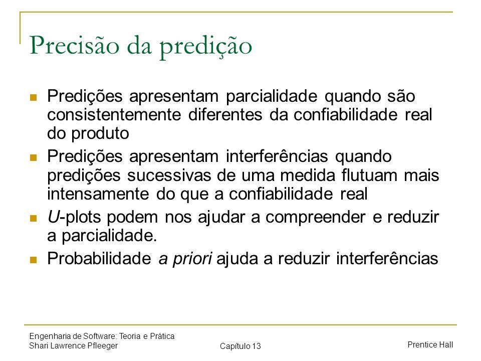 Precisão da predição Predições apresentam parcialidade quando são consistentemente diferentes da confiabilidade real do produto.
