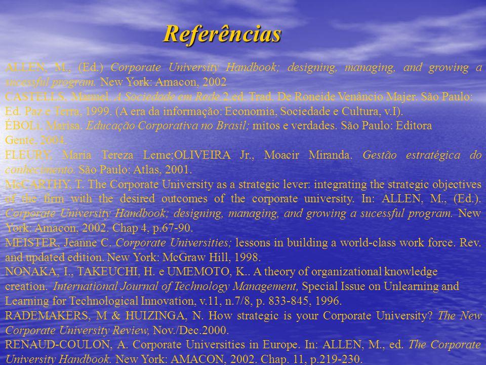 ReferênciasALLEN, M., (Ed.) Corporate University Handbook; designing, managing, and growing a sucessful program. New York: Amacon, 2002.