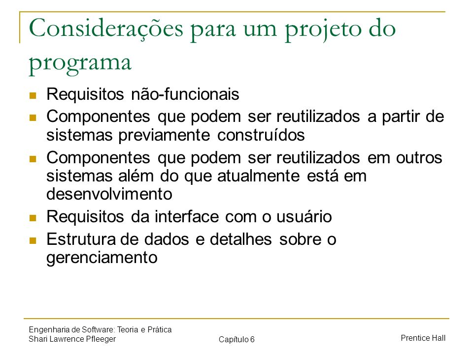 Considerações para um projeto do programa