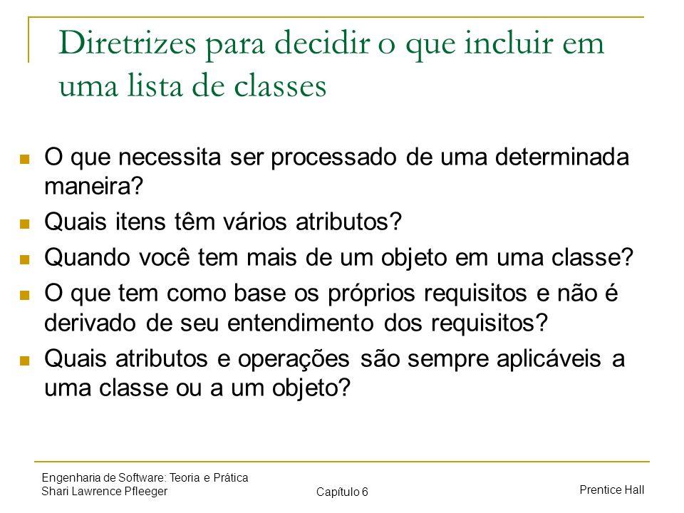 Diretrizes para decidir o que incluir em uma lista de classes