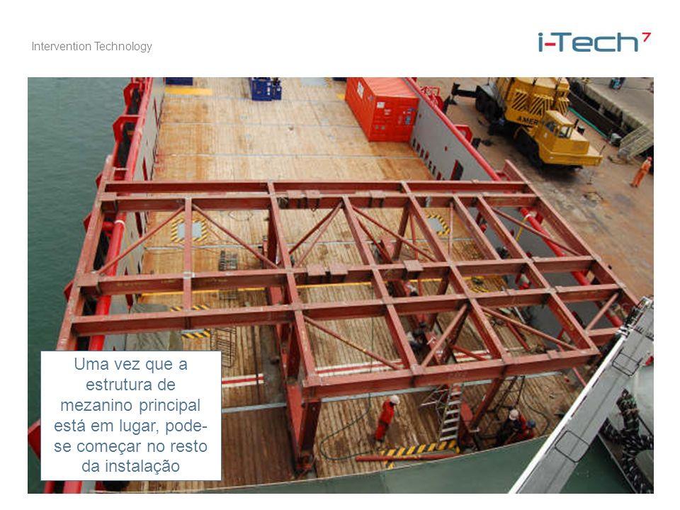 Uma vez que a estrutura de mezanino principal está em lugar, pode-se começar no resto da instalação