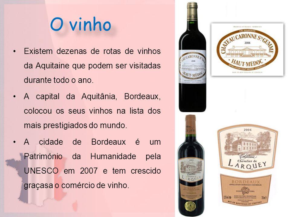 O vinhoExistem dezenas de rotas de vinhos da Aquitaine que podem ser visitadas durante todo o ano.
