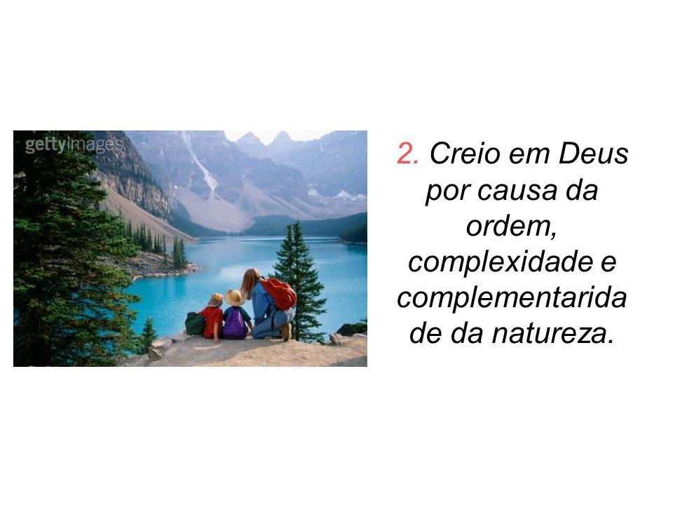 2. Creio em Deus por causa da ordem, complexidade e complementaridade da natureza.