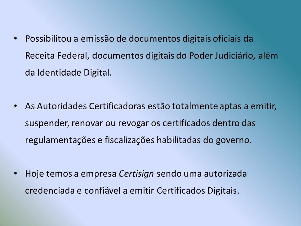 Possibilitou a emissão de documentos digitais oficiais da Receita Federal, documentos digitais do Poder Judiciário, além da Identidade Digital.