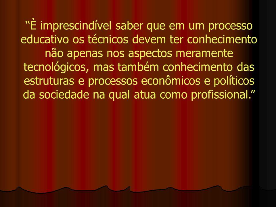 È imprescindível saber que em um processo educativo os técnicos devem ter conhecimento não apenas nos aspectos meramente tecnológicos, mas também conhecimento das estruturas e processos econômicos e políticos da sociedade na qual atua como profissional.