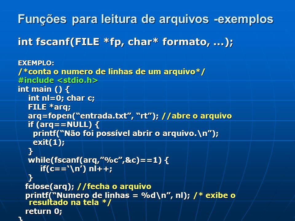 Funções para leitura de arquivos -exemplos