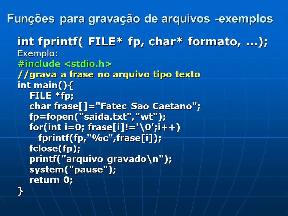 Funções para gravação de arquivos -exemplos