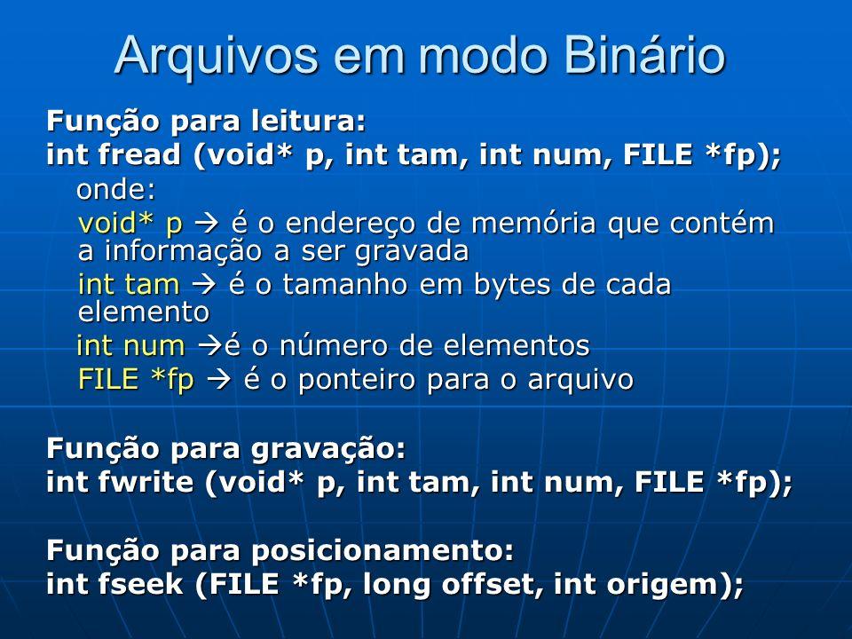 Arquivos em modo Binário